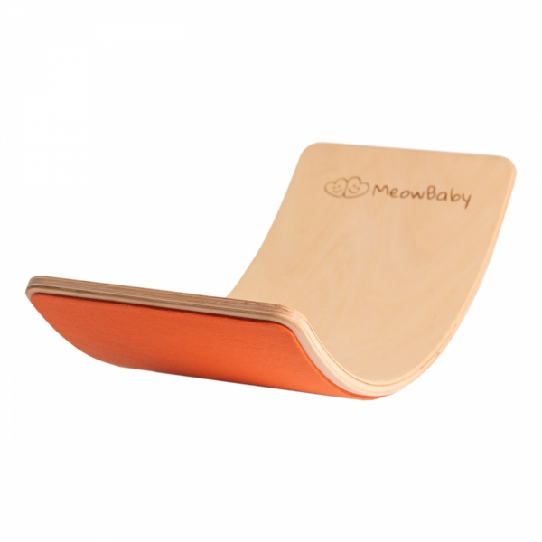 MeowBaby Balance Board orange mit Filz 80x30 cm aus Holz für Kinder, bis 200 kg