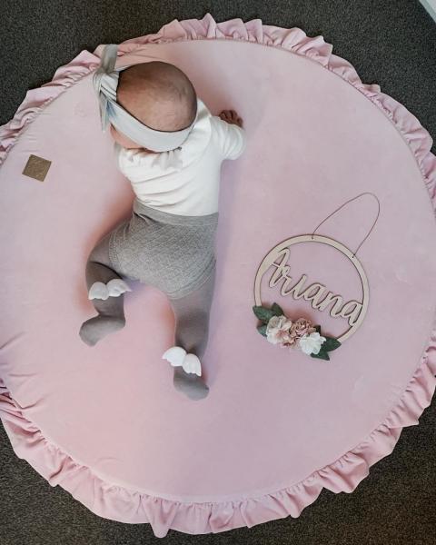 MeowBaby Baby Spielmatte rund mit Volant, rosa