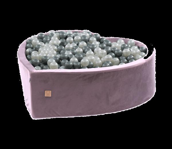 MiSiOO Bällebad Velvet Herz 138x128cm Lila mit 300 Bällen zum selber Gestalten nach Wunsch