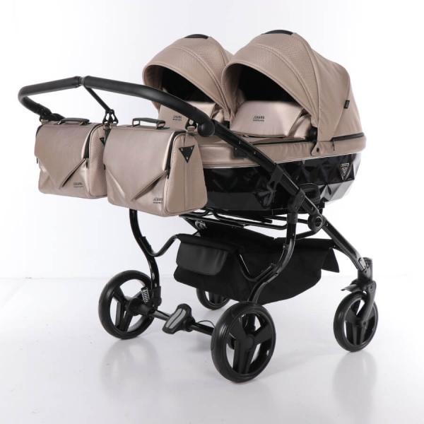JUNAMA Zwillingskinderwagen Saphire Duo 06 - schwarz/beige