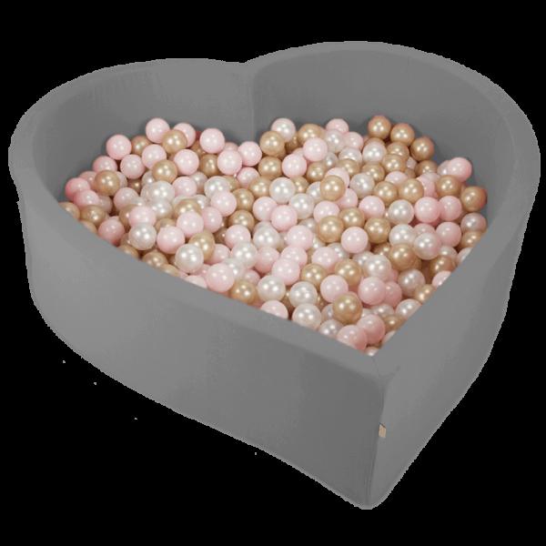 MiSiOO Bällebad Herz 138x128x40cm Grau mit 300 Bällen zum selber Gestalten nach Wunsch
