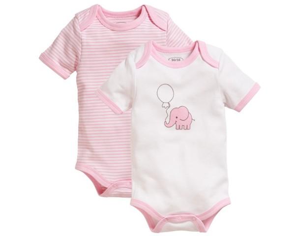 Schnizler Baby - Body 1/4-Arm 2er Pack Elefant rosa Gr. 74/80