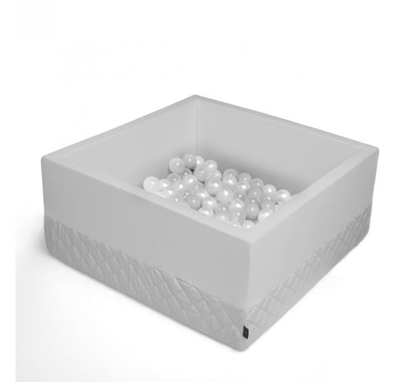 BabySteps Bällebad 90x90x40cm eckig grau Samt mit 200 Bällen zum selber Gestalten nach Wunsch