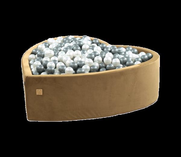 MiSiOO Bällebad Velvet Herz 138x128cm Gold mit 300 Bällen zum selber Gestalten nach Wunsch