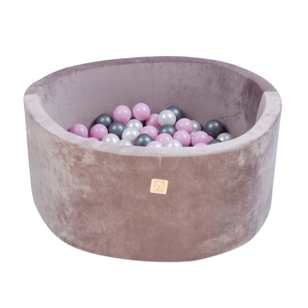 MiSiOO Bällebad Velvet 90x40cm Lila mit 300 Bällen zum selber Gestalten nach Wunsch