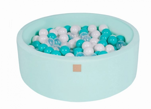 MeowBaby Bällebad 90X30cm Mint (Türkis/Transparent/Weiß) 200 Bälle