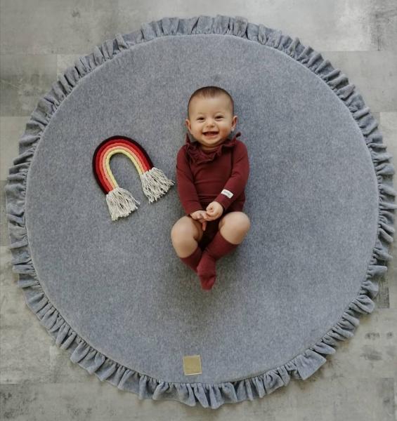 MeowBaby Baby Spielmatte rund mit Volant, hellgrau