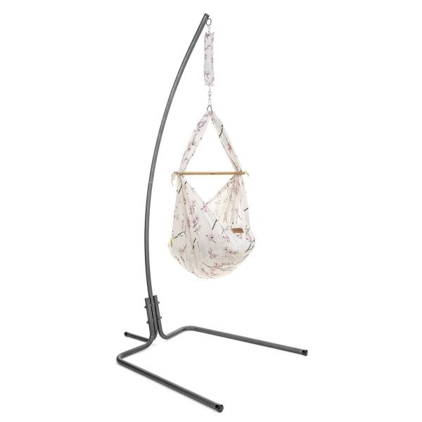 NONOMO Federwiegen-Set Baby Classic mit Kunstfaser-Matratze & Gestell design anthr. - Cherry Blossom