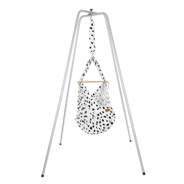 NONOMO Federwiegen-Set Baby Classic mit Kunstfaser-Matratze & Gestell Basic silber - Wild Dots