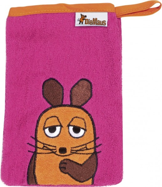Playshoes Frottee-Waschhandschuh DIE MAUS, pink