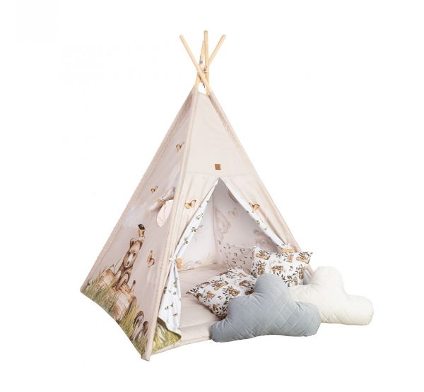 BabySteps Premium Tipi-Zelt für Kinder - Happy Bear