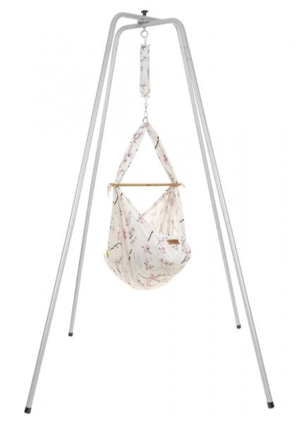 NONOMO Federwiegen-Set Baby Classic mit Kunstfaser-Matratze & Gestell basic silber - Cherry Blossom