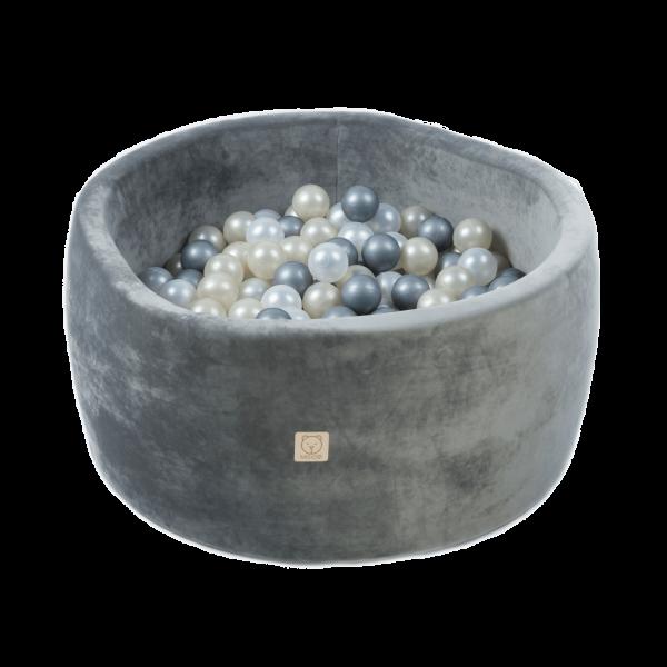 MiSiOO Bällebad Velvet 90x40cm Grau mit 300 Bällen zum selber Gestalten nach Wunsch