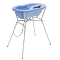 Rotho Babydesign Badewannen-Set Top sky blue, 4-tlg. mit Wannenständer
