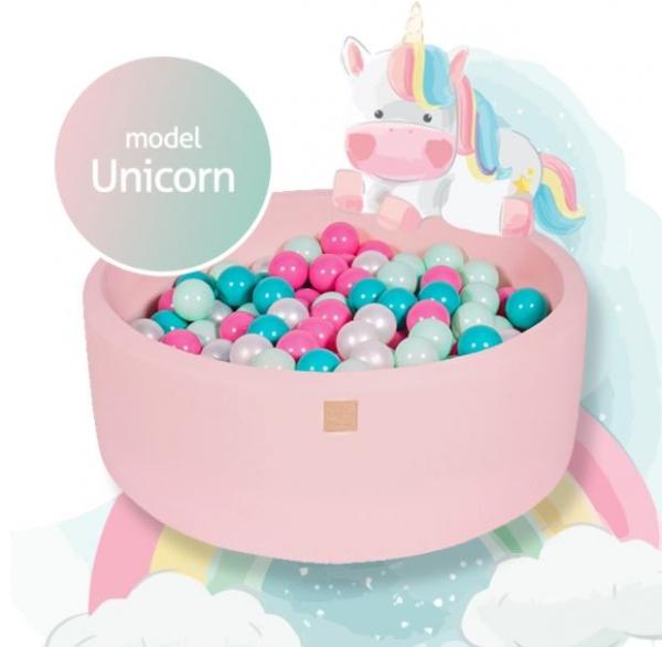 MeowBaby Bällebad 90x40cm, Unicorn, 250 Bälle
