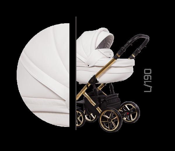 Baby Merc Kombikinderwagen 2 in 1 FASTER 3 ltd. L190 weiß gold - 10-teilig