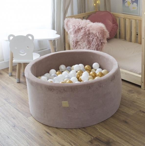 MeowBaby Bällebad 90x40cm VELVET beige Samt mit 300 Bällen zum selber Gestalten nach Wunsch