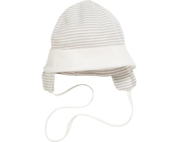 Schnizler Baby - Bindemütze Unisex mit Ohrenschutz natur Gr.49