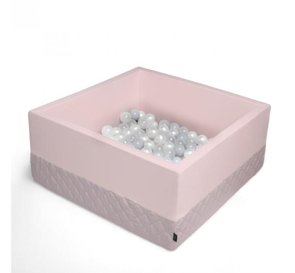 BabySteps Bällebad 90x90x40cm eckig sepia rose Samt mit 200 Bällen zum selber Gestalten nach Wunsch