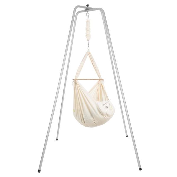 NONOMO Federwiegen-Set Baby Classic mit Kunstfaser-Matratze & Gestell Basic silber - natur