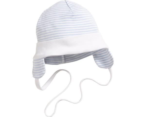 Schnizler Baby - Bindemütze Jungen mit Ohrenschutz blau