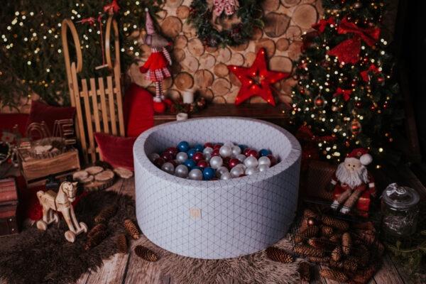 MiSiOO Bällebad Geometrisch rund 90x40cm Hellgrau mit 300 Bällen zum selber Gestalten nach Wunsch