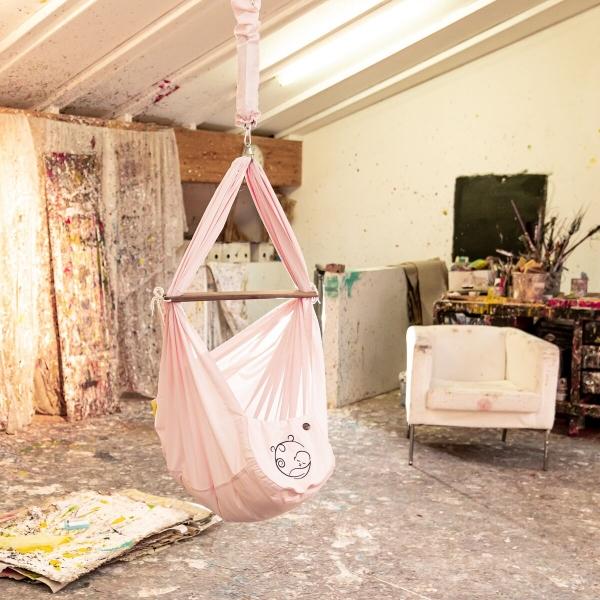 NONOMO Federwiegen-Set Baby Classic mit Kunstfaser-Matratze und Deckenbefestigung - rosé