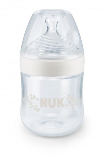 NUK Nature Sense Babyflasche, 0-6 Monate, S (Tee), 150 ml, weiss