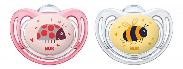 NUK Freestyle Silikon-Schnuller Gr. 1, rosa-gelb, 0-6 Monate