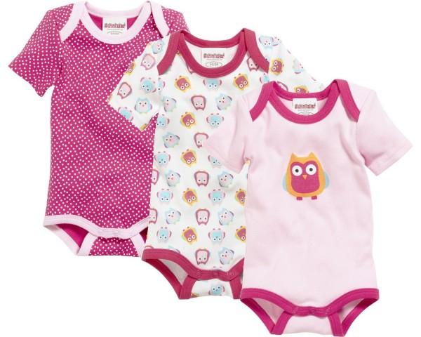 Schnizler Baby - Body 1/4-Arm 3er Pack Eule Gr.50/56