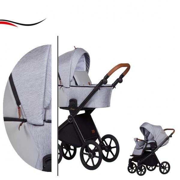 Baby Merc Kombikinderwagen 2 in 1 Mango M199 hellgrau - 10-teilig