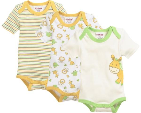 Schnizler Baby - Body Unisex 1/4-Arm 3er Pack Dschungel Gr.50/56