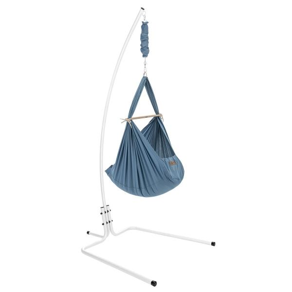 NONOMO Federwiegen-Set Baby Classic mit Kunstfaser-Matratze & Gestell design weiß - hellblau