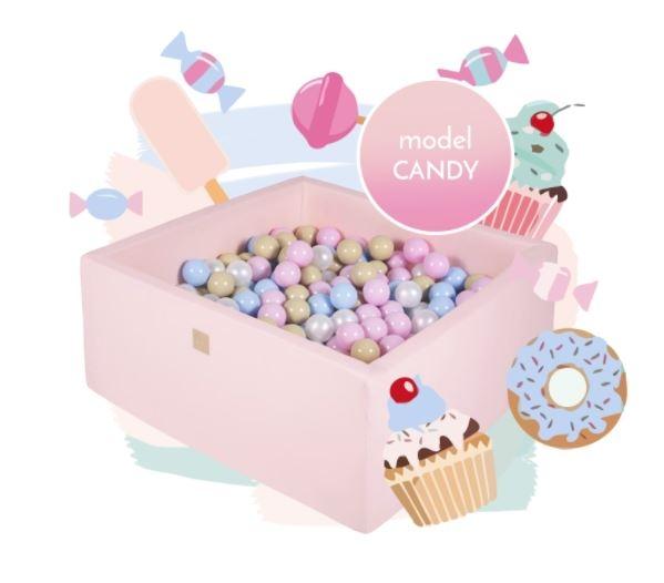 MeowBaby Bällebad 90x90x40cm eckig, Candy, 300 Bälle