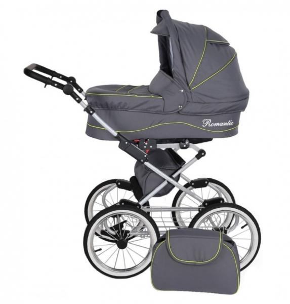 Kunert Retro Kombi-Kinderwagen Romantic Silver - Graphit/Limette