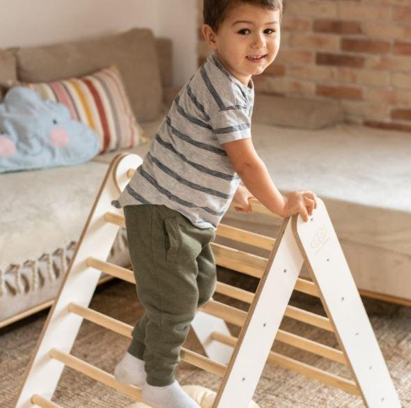MeowBaby Montessori Holzleiter scandi für Kinder, weiss