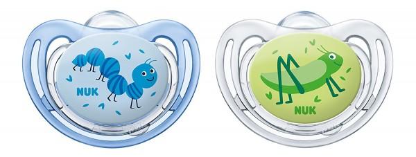 NUK Freestyle Silikon-Schnuller Gr. 1, blau-grün, 0-6 Monate