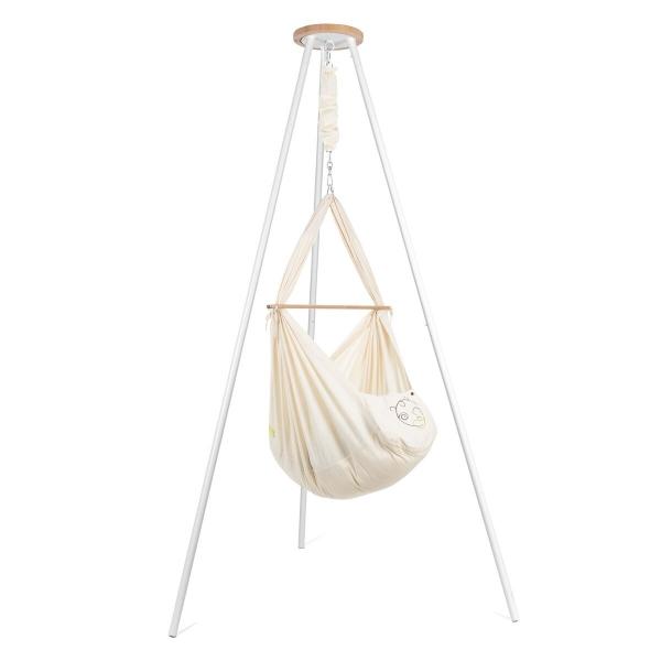 NONOMO Federwiegen-Set Baby Classic mit Kunstfaser-Matratze & Gestell TIPI weiß - natur