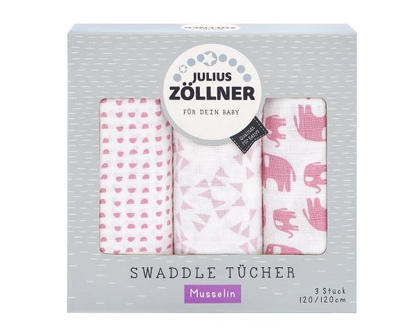 Julius Zöllner Spucktücher 3-er Pack Elefant rosa 70x70 cm