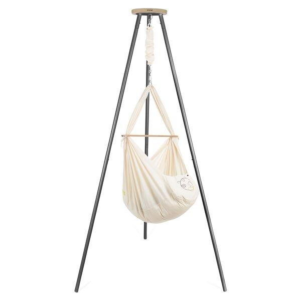 NONOMO Federwiegen-Set Baby Classic mit Kunstfaser-Matratze & Gestell TIPI anthrazit - natur
