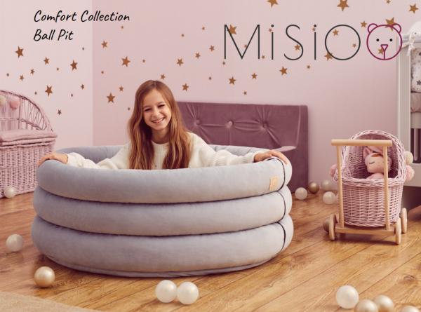 MiSiOO Bällebad Comfort+ rund 100x45cm Hellgrau mit 300 Bällen zum selber Gestalten nach Wunsch