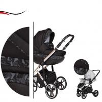 Baby Merc Kombikinderwagen 2 in 1 FASTER 3 ltd. L162 schwarz chrome - 10-teilig