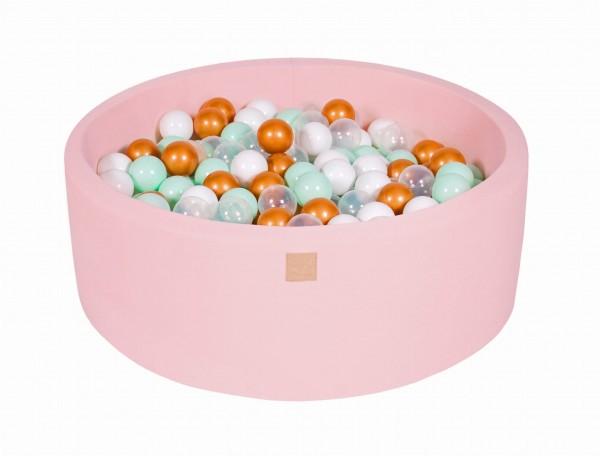 MeowBaby Bällebad 90X30cm Pink (Weiß/Gold/Transparent/Mint) 200 Bälle