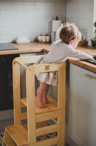 MeowBaby Lernturm / Küchenhelfer für Kinder - Naturholz
