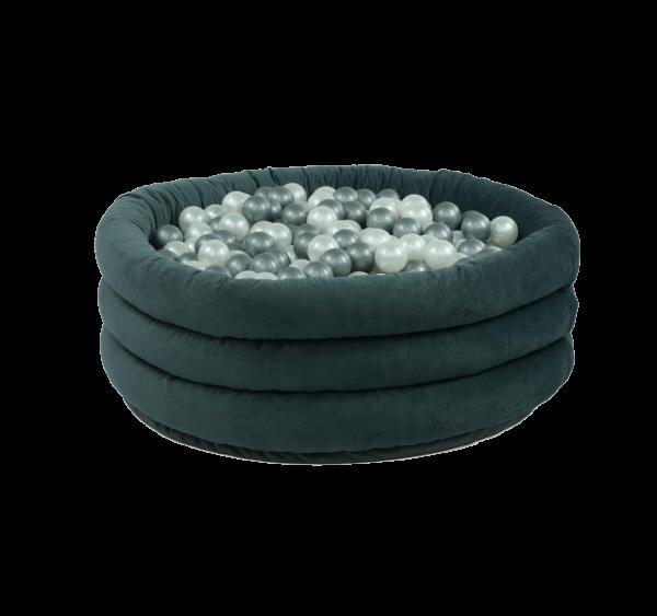 MiSiOO Bällebad Comfort+ rund 100x45cm Grau mit 300 Bällen zum selber Gestalten nach Wunsch