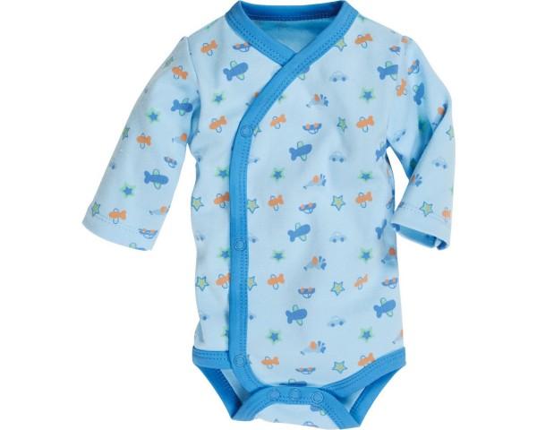 Schnizler Baby - Wickelbody Jungen Allover Langarm blau Gr. 44