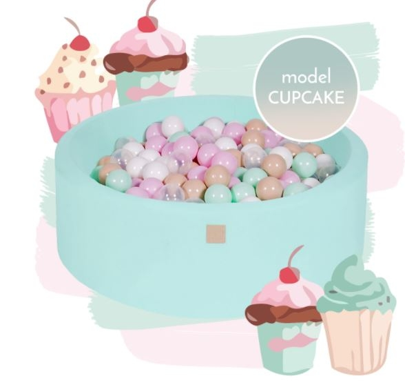 MeowBaby Bällebad 90x30cm, Cupcake, 250 Bälle