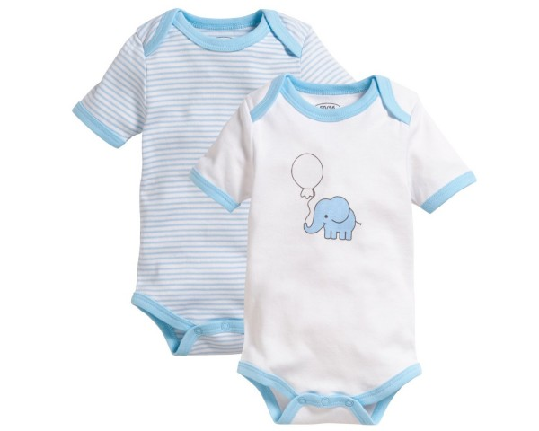 Schnizler Baby - Body 1/4-Arm 2er Pack Elefant blau Gr. 62/68