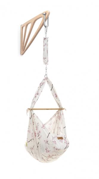 NONOMO Federwiegen-Set Baby Classic mit Kunstfaser-Matratze & Wandhalterung - Cherry Blossom