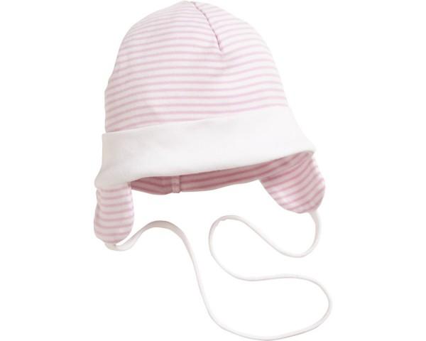 Schnizler Baby - Bindemütze Mädchen mit Ohrenschutz rosa